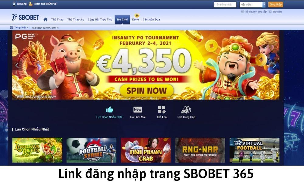 Link đăng nhập trang SBOBET 365
